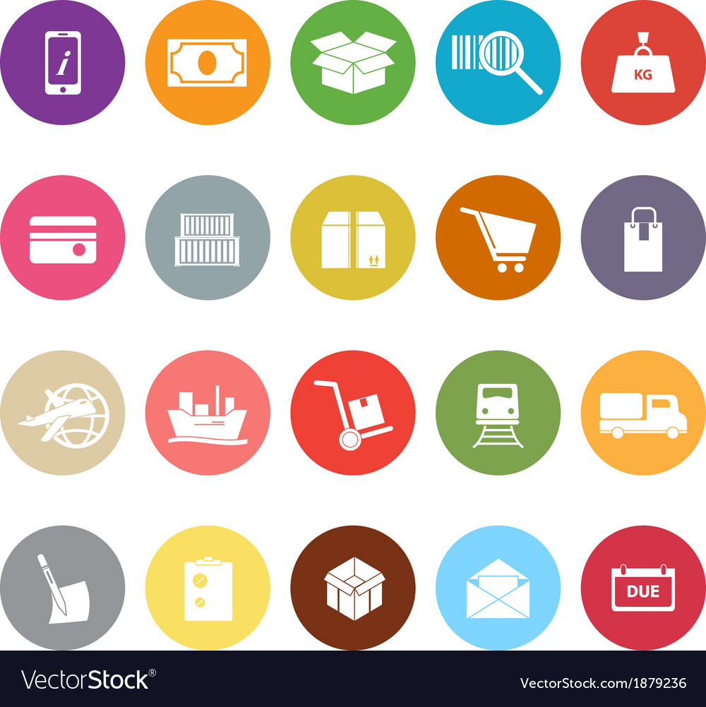 Shipment flat icons on white background vector | Price: 1 Credit (USD $1)