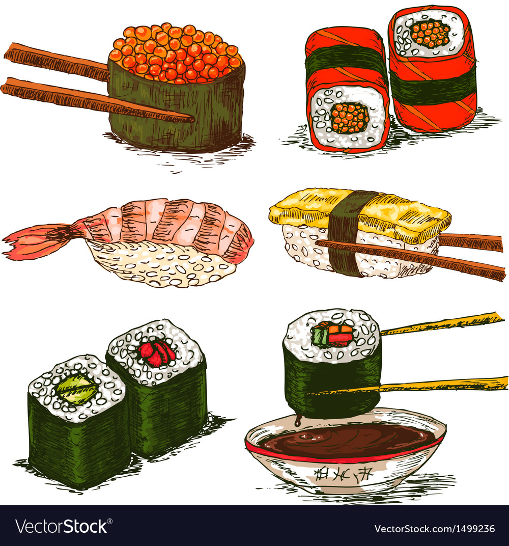 Tasty rolls and sushi set vector | Price: 1 Credit (USD $1)