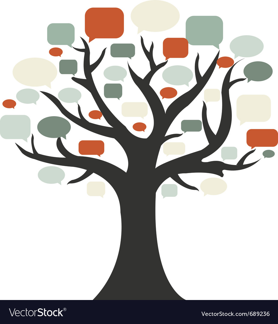 Tree with speech bubbles vector | Price: 1 Credit (USD $1)