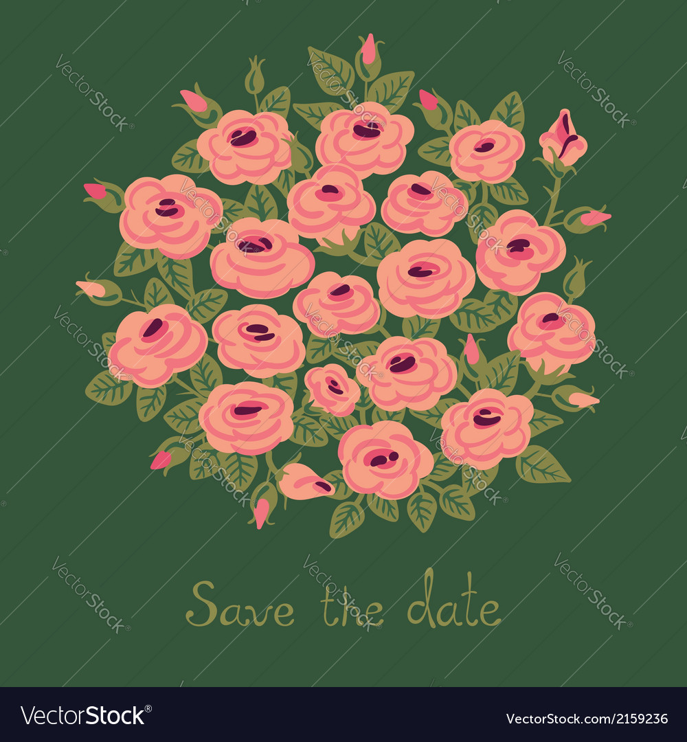 Vintage card with a bouquet of roses vector | Price: 1 Credit (USD $1)