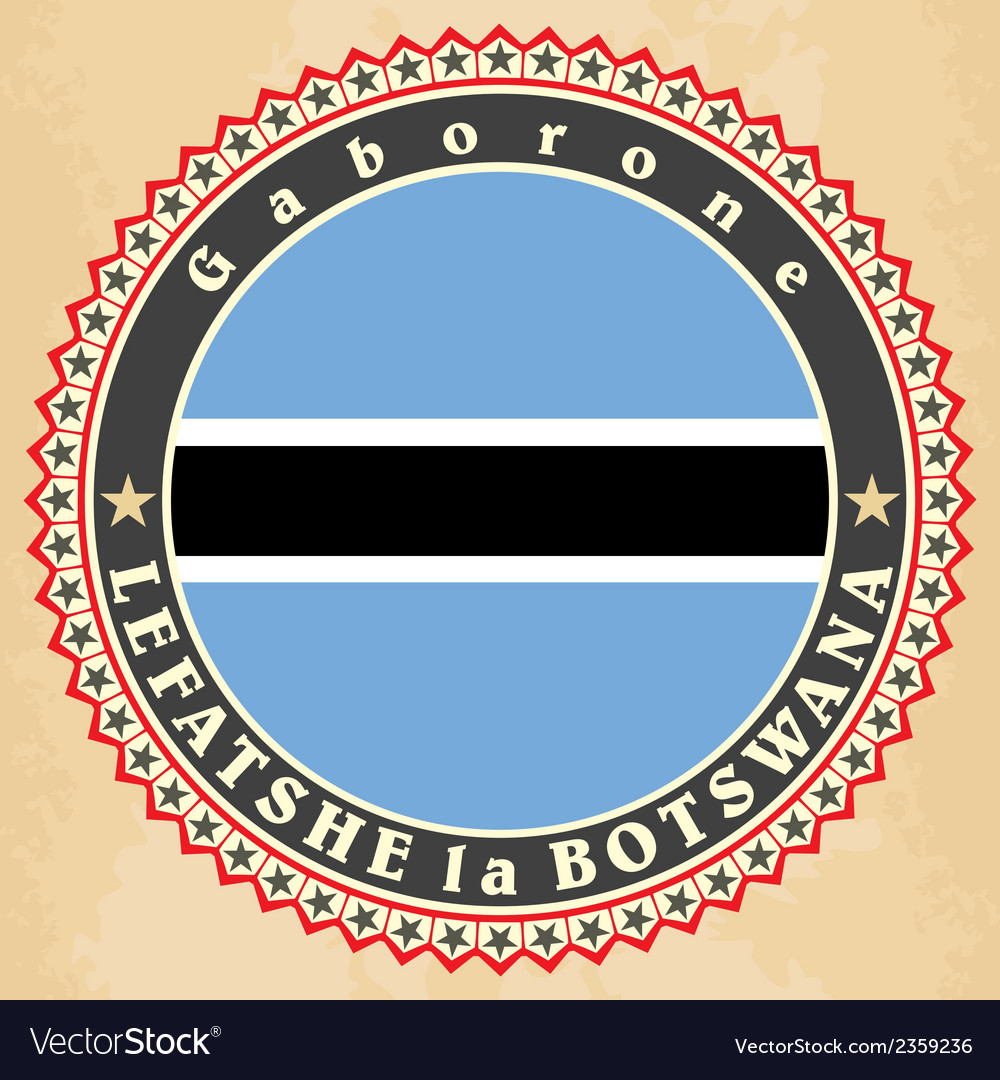 Vintage label cards of botswana flag vector | Price: 1 Credit (USD $1)