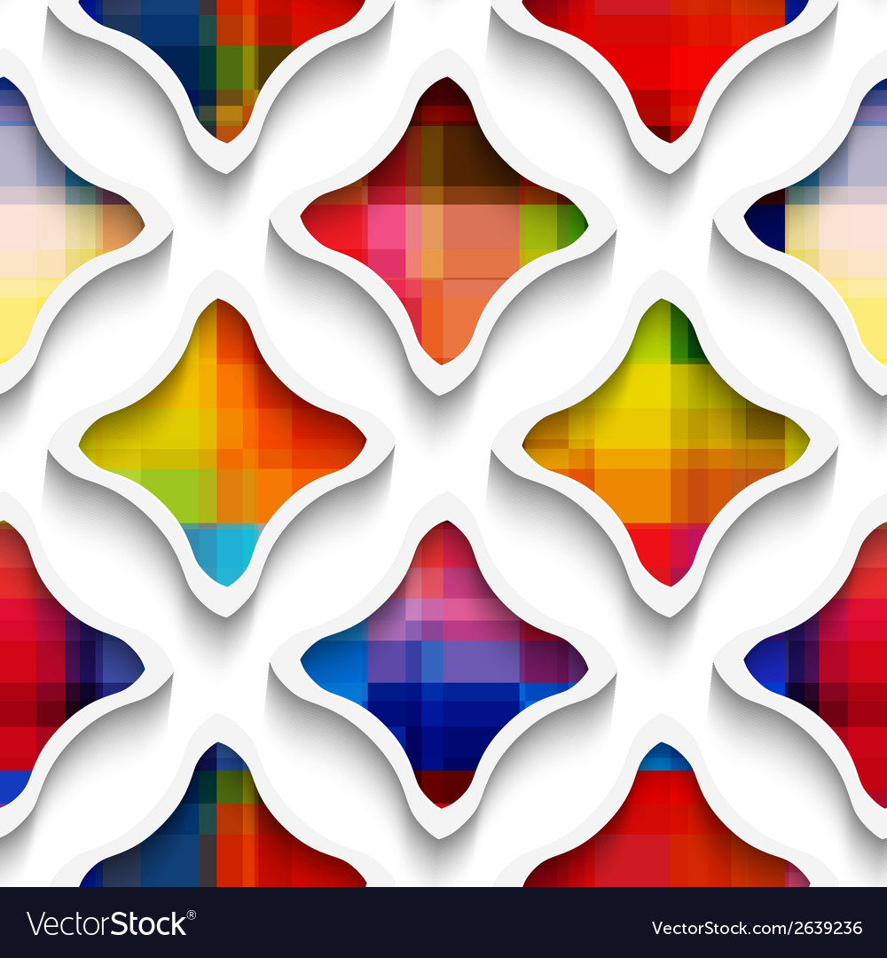 White wavy rectangles with rainbow on white vector | Price: 1 Credit (USD $1)