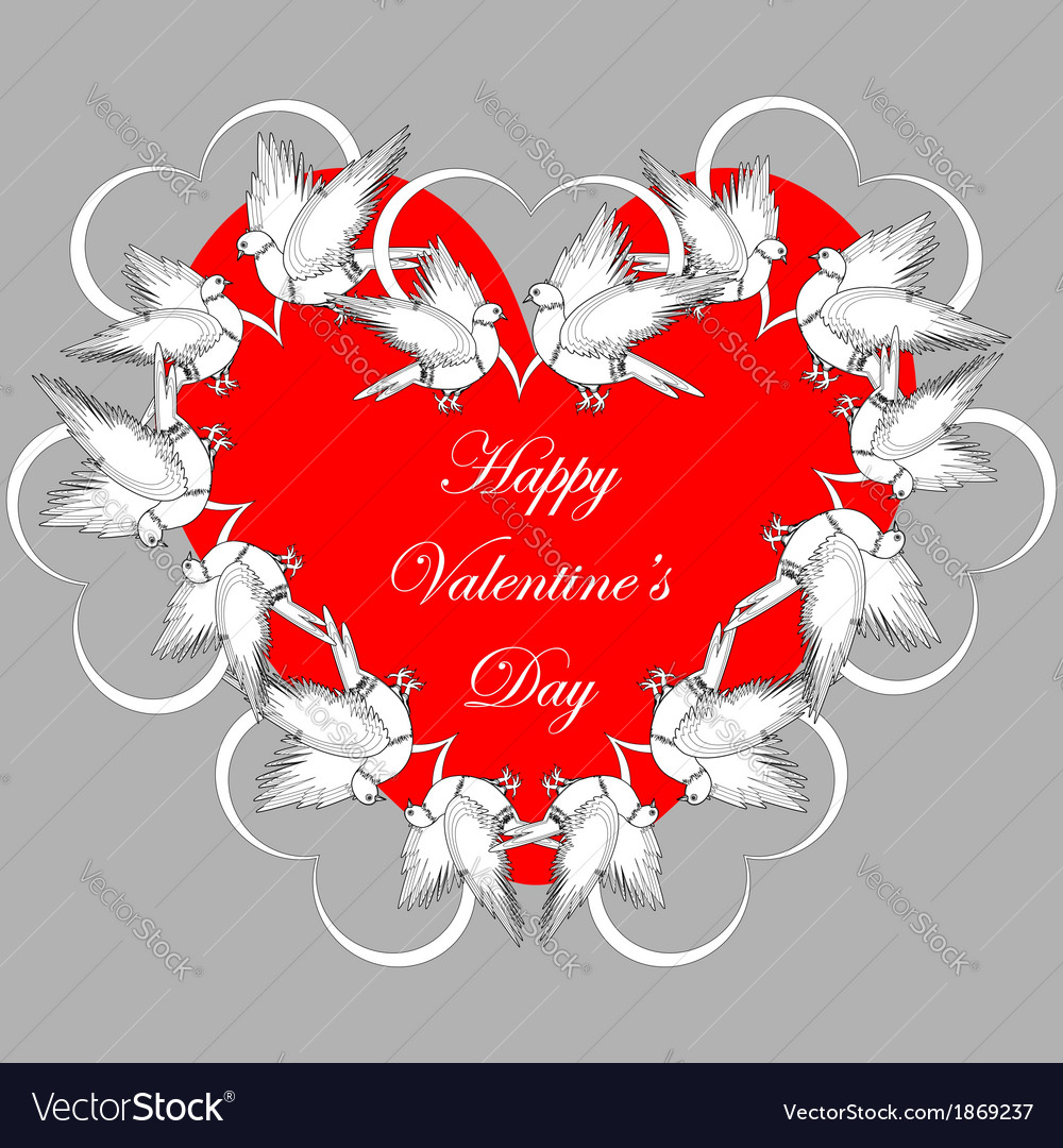 A red heart decorated with flying white doves vector | Price: 1 Credit (USD $1)