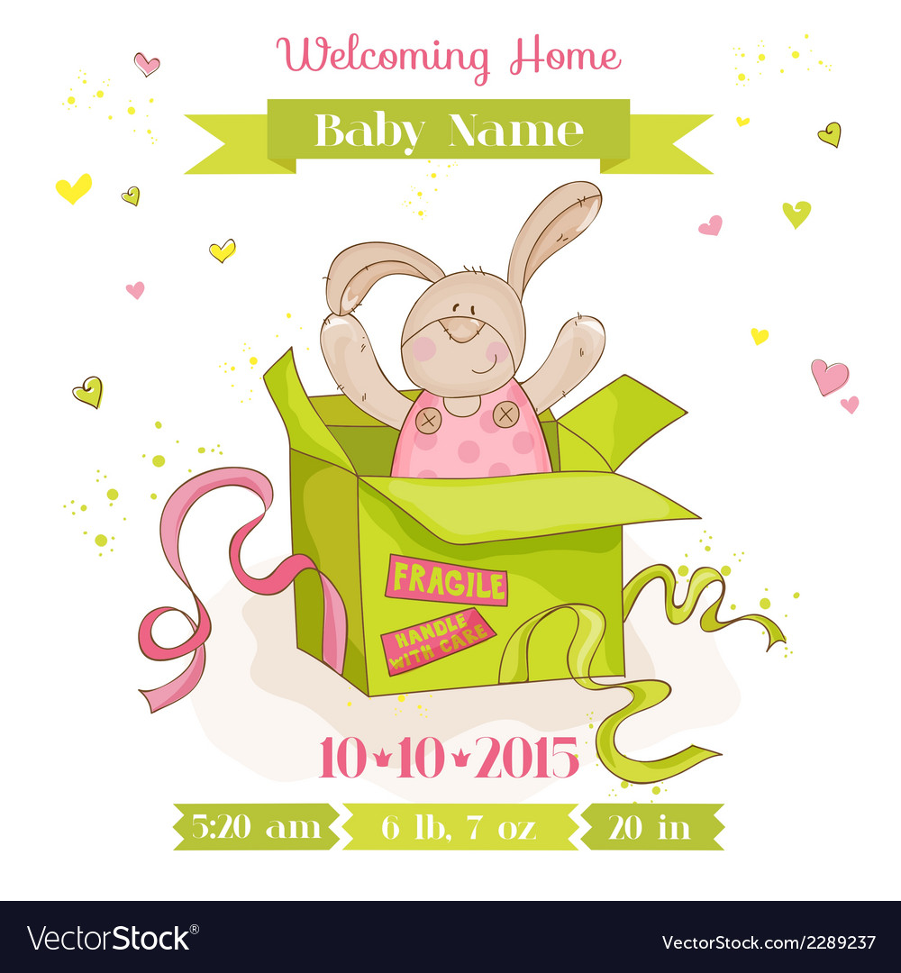 Baby bunny in a box - baby shower or arrival card vector | Price: 1 Credit (USD $1)