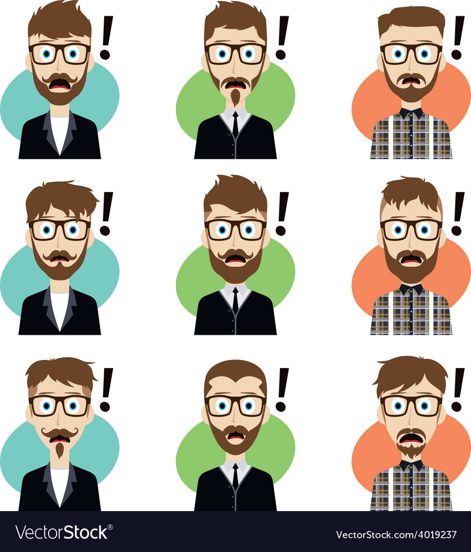 Cartoon character guy surprise vector | Price: 1 Credit (USD $1)