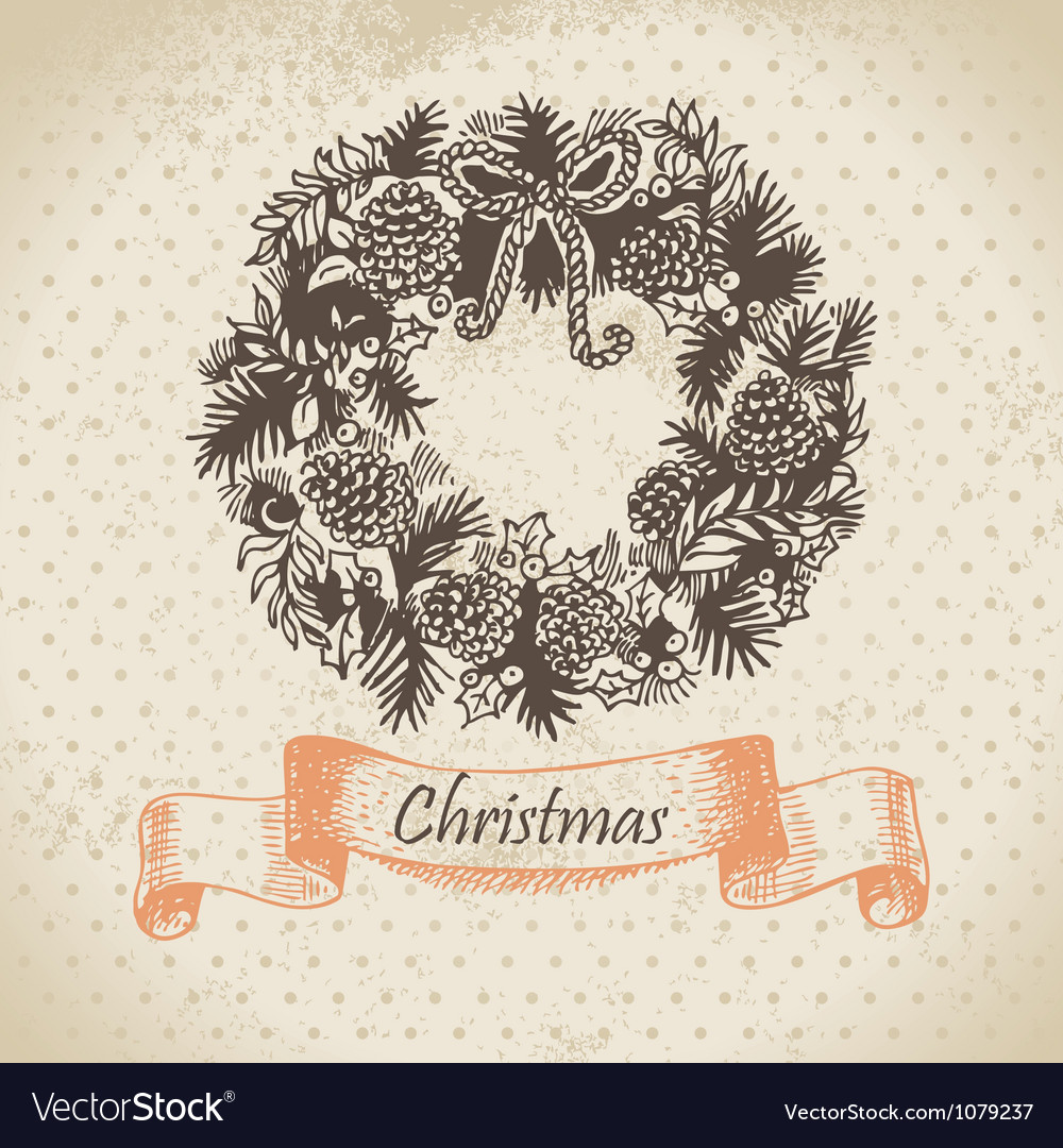 Christmas wreath hand drawn vector | Price: 1 Credit (USD $1)