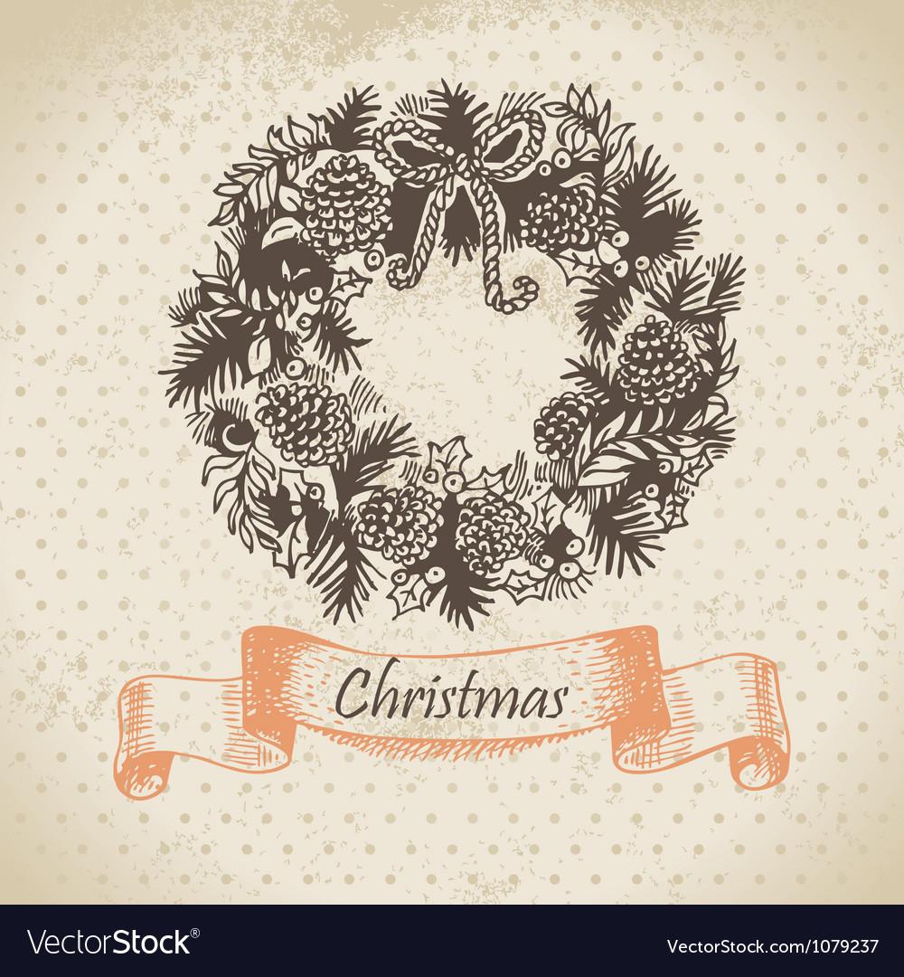 Christmas wreath hand drawn vector | Price: 1 Credit (USD $1)