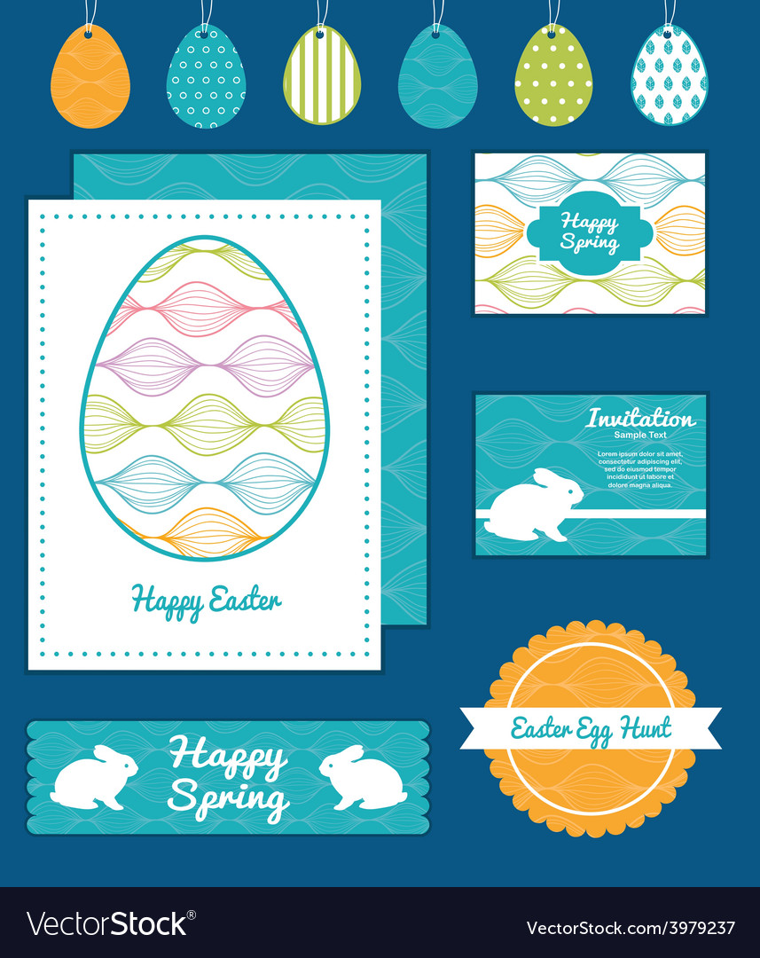 Colorful horizontal ogee set of easter vector | Price: 1 Credit (USD $1)