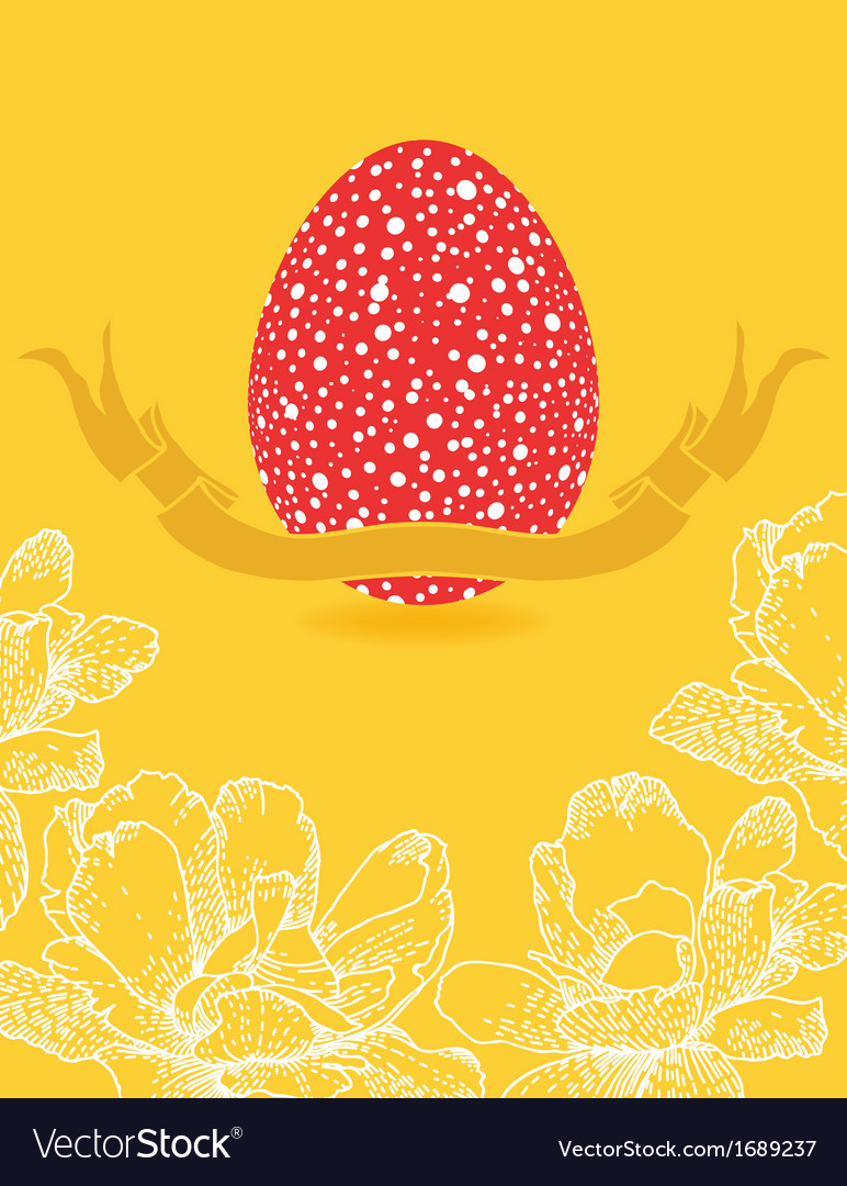 Easter card with flowers and red egg vector | Price: 1 Credit (USD $1)