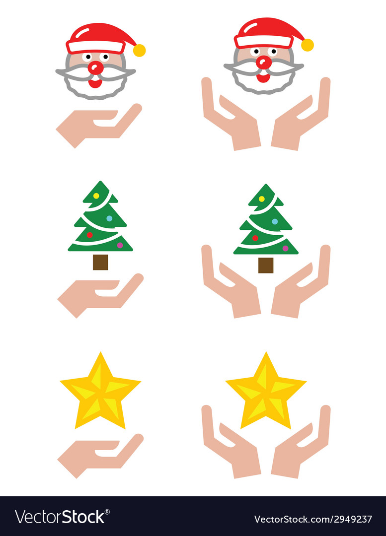 Hands with christmas icons - santa claus tree st vector | Price: 1 Credit (USD $1)
