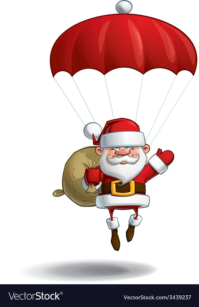 Happy santa parachute sack of gifts vector | Price: 3 Credit (USD $3)