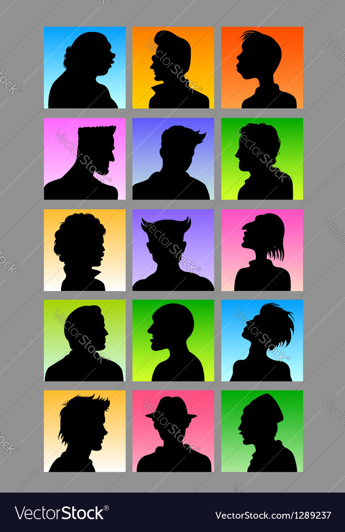 Male avatar silhouettes set vector | Price: 1 Credit (USD $1)