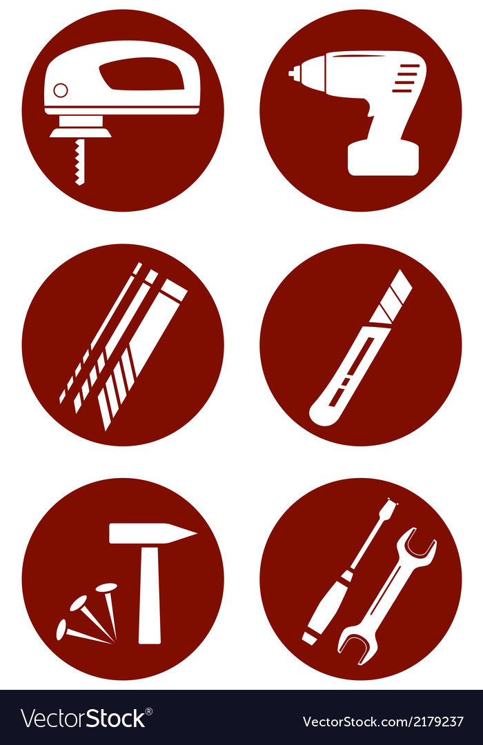 Set icons with construction tools vector | Price: 1 Credit (USD $1)