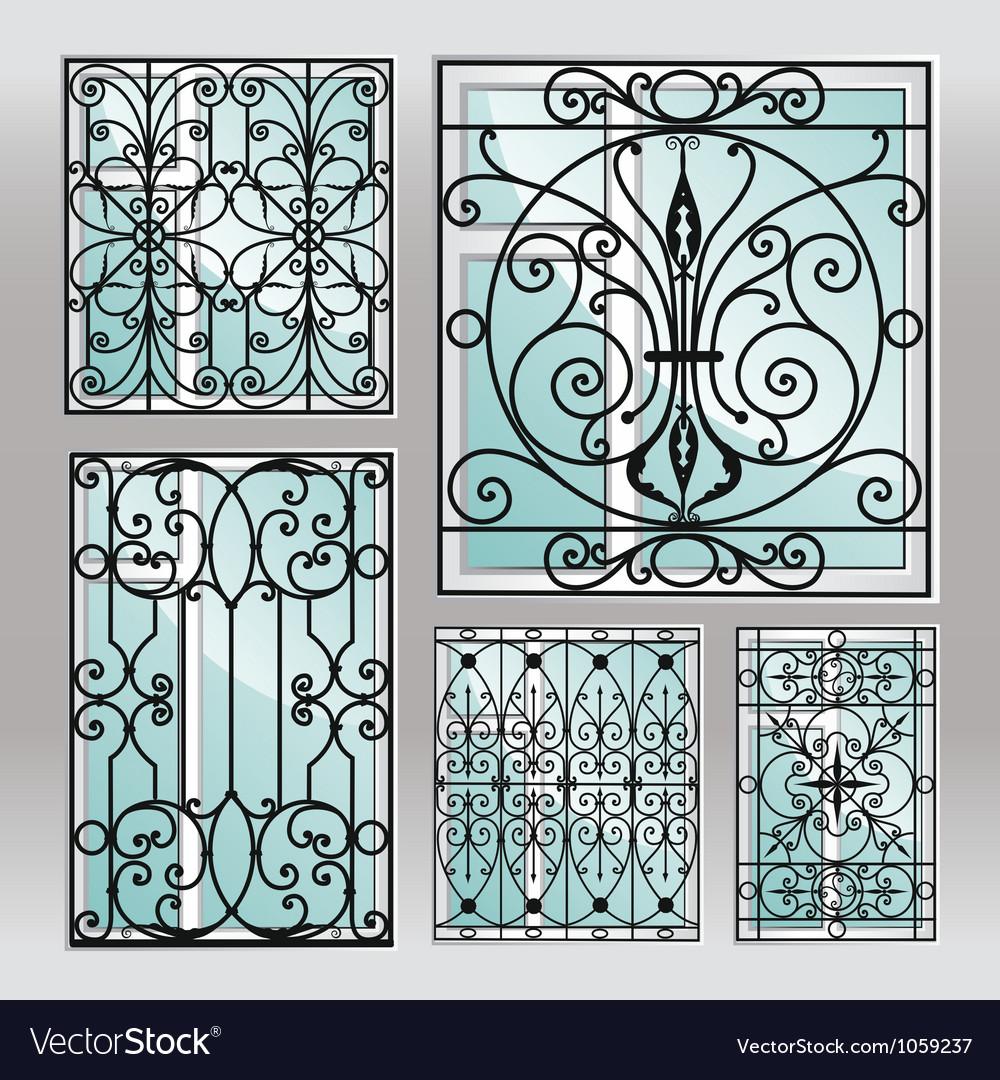 Set of iron window latticies vector | Price: 1 Credit (USD $1)