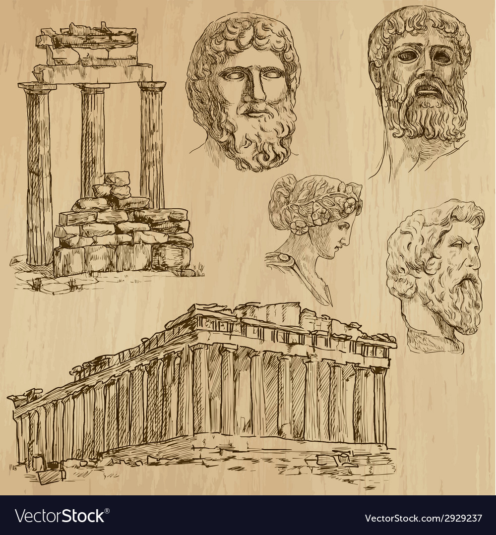 Traveling greece - an hand drawn pack vector | Price: 1 Credit (USD $1)