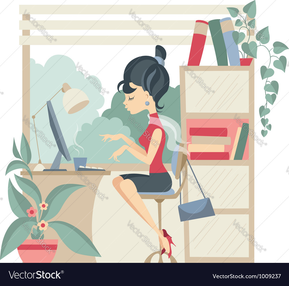 Young business woman using computer at office vector | Price: 3 Credit (USD $3)