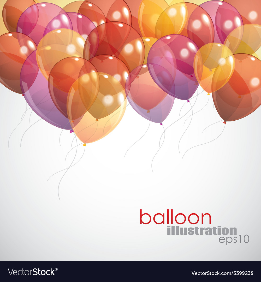 Background with multicolored flying balloons vector | Price: 1 Credit (USD $1)