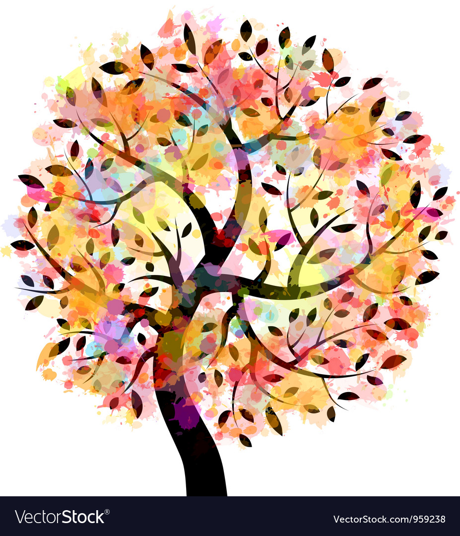 Colorful tree vector | Price: 1 Credit (USD $1)