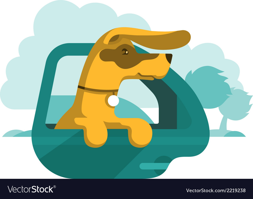 Dog is looking out of car window vector | Price: 1 Credit (USD $1)