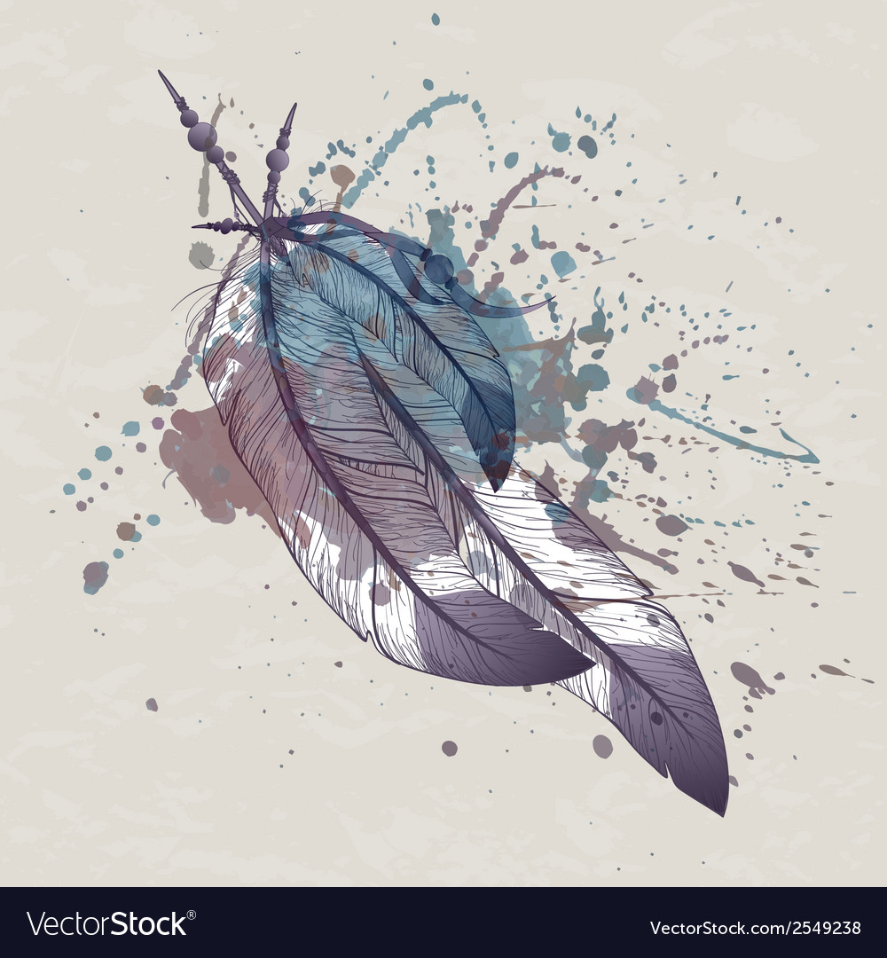 Eagle feathers with watercolor splash vector | Price: 1 Credit (USD $1)