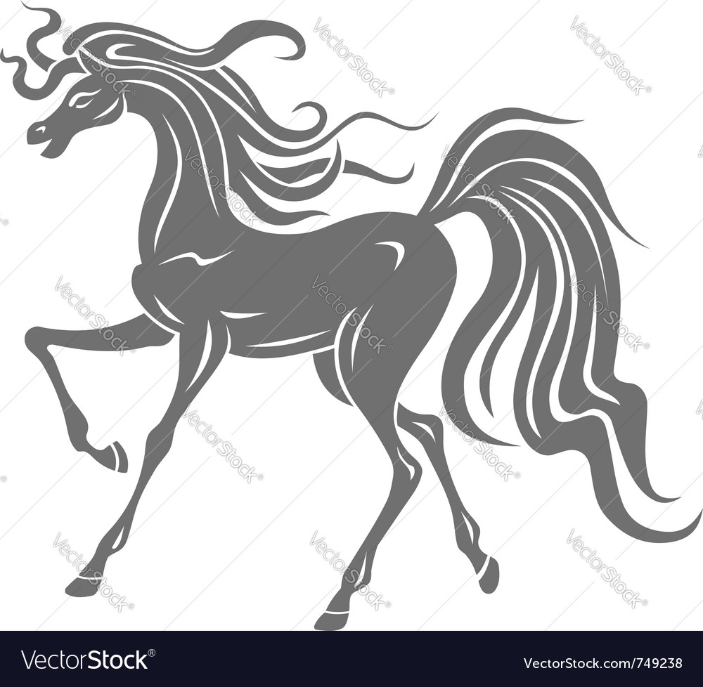 Gray horse silhouette vector | Price: 1 Credit (USD $1)