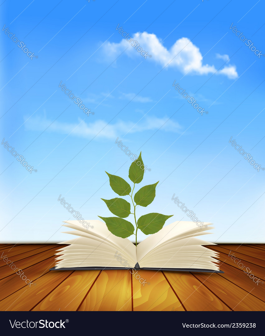 Green tree growing from open book vector | Price: 1 Credit (USD $1)