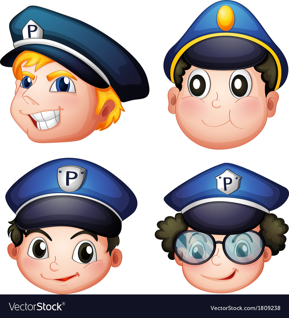 Head of four cops vector | Price: 1 Credit (USD $1)