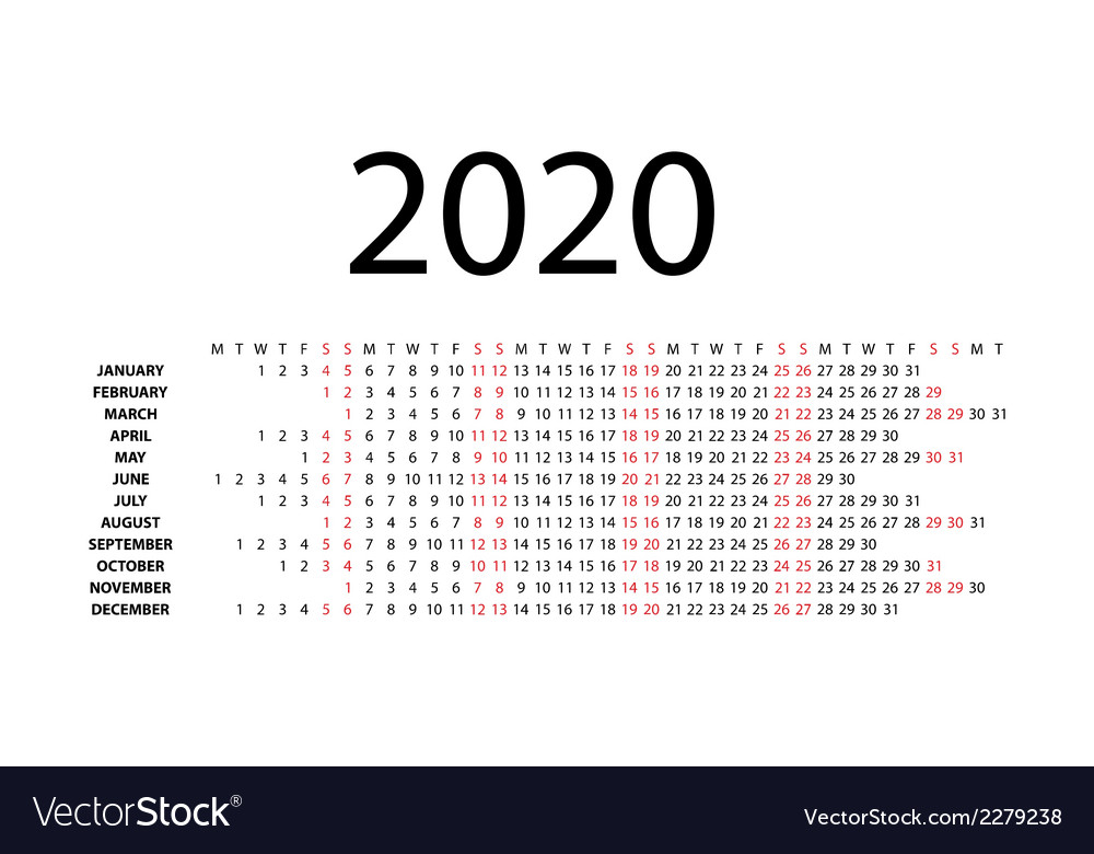 Horizontal calendar for 2020 vector | Price: 1 Credit (USD $1)