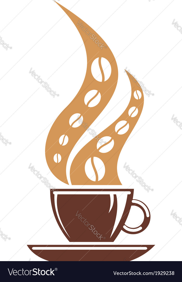 Hot cup of coffee with coffee bean steam vector | Price: 1 Credit (USD $1)
