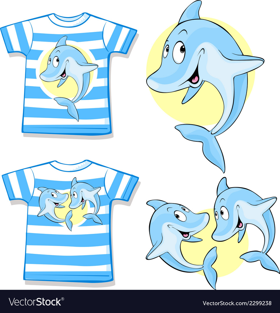 Kid shirt with cute dolphin vector | Price: 1 Credit (USD $1)