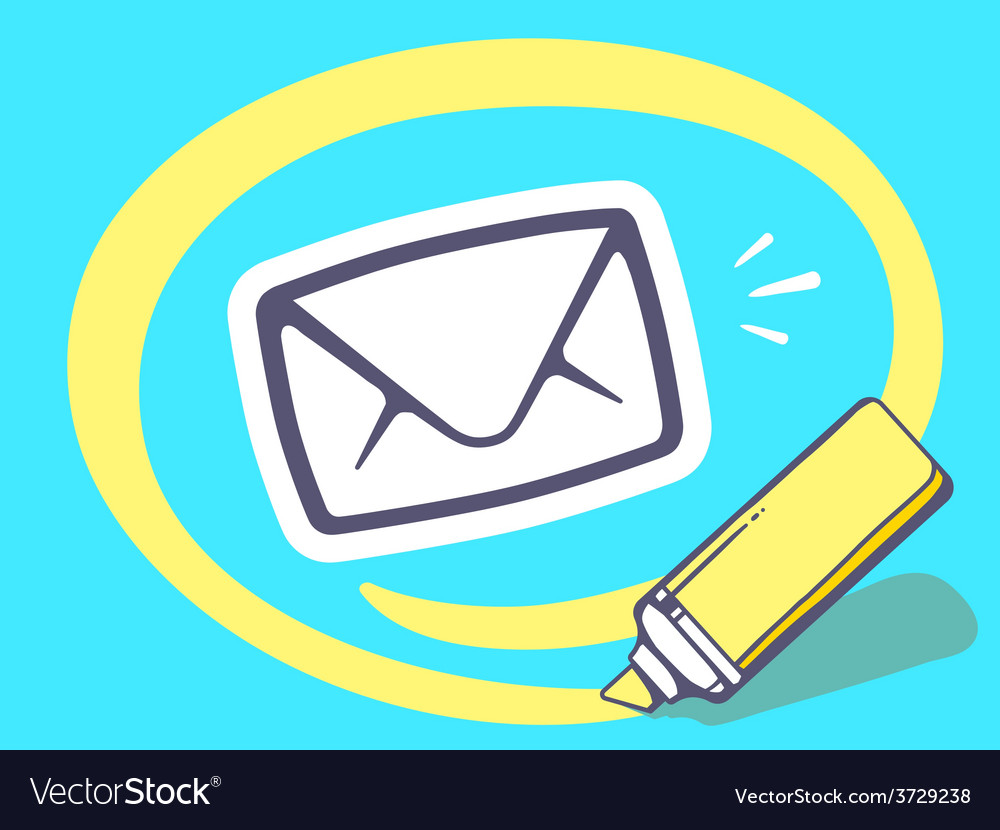 Marker drawing circle around envelope on vector | Price: 1 Credit (USD $1)