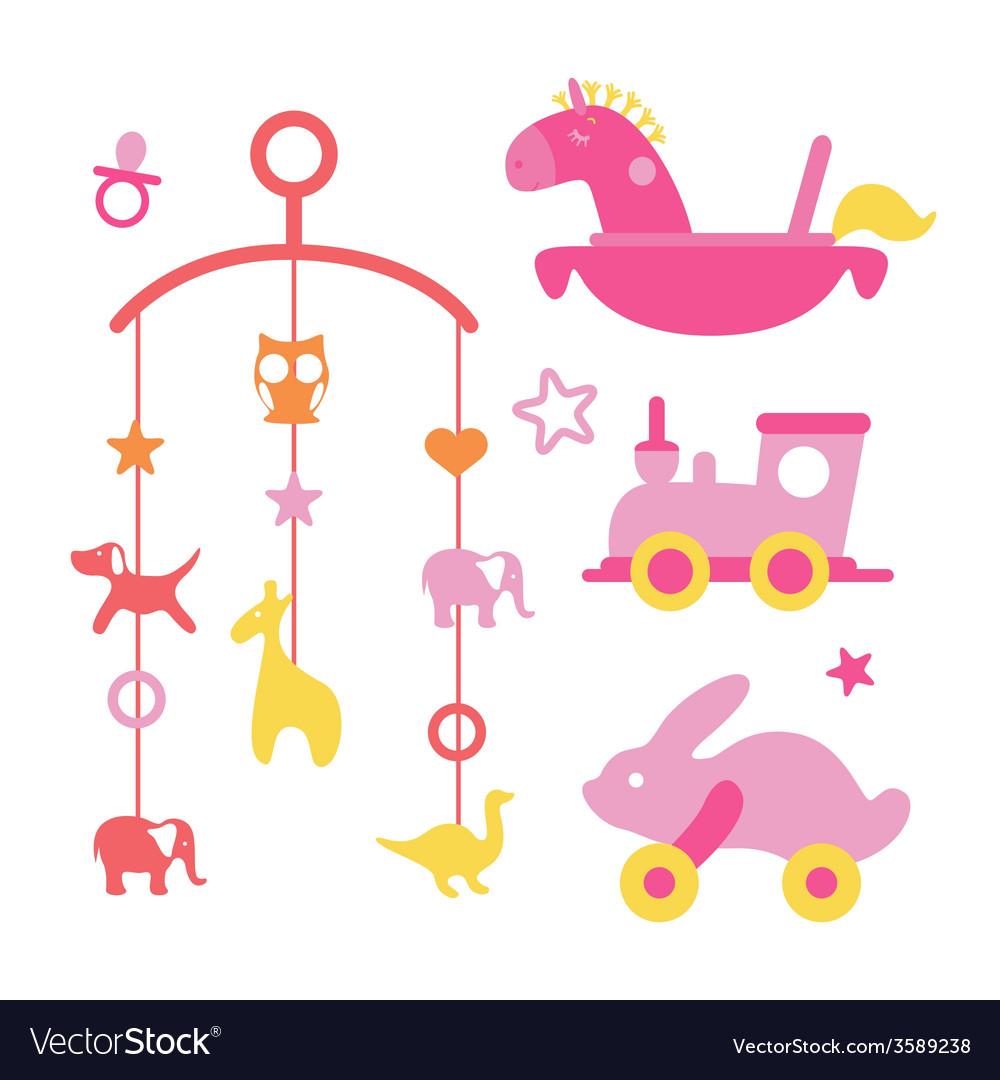 Newborn girl first toys set vector | Price: 1 Credit (USD $1)