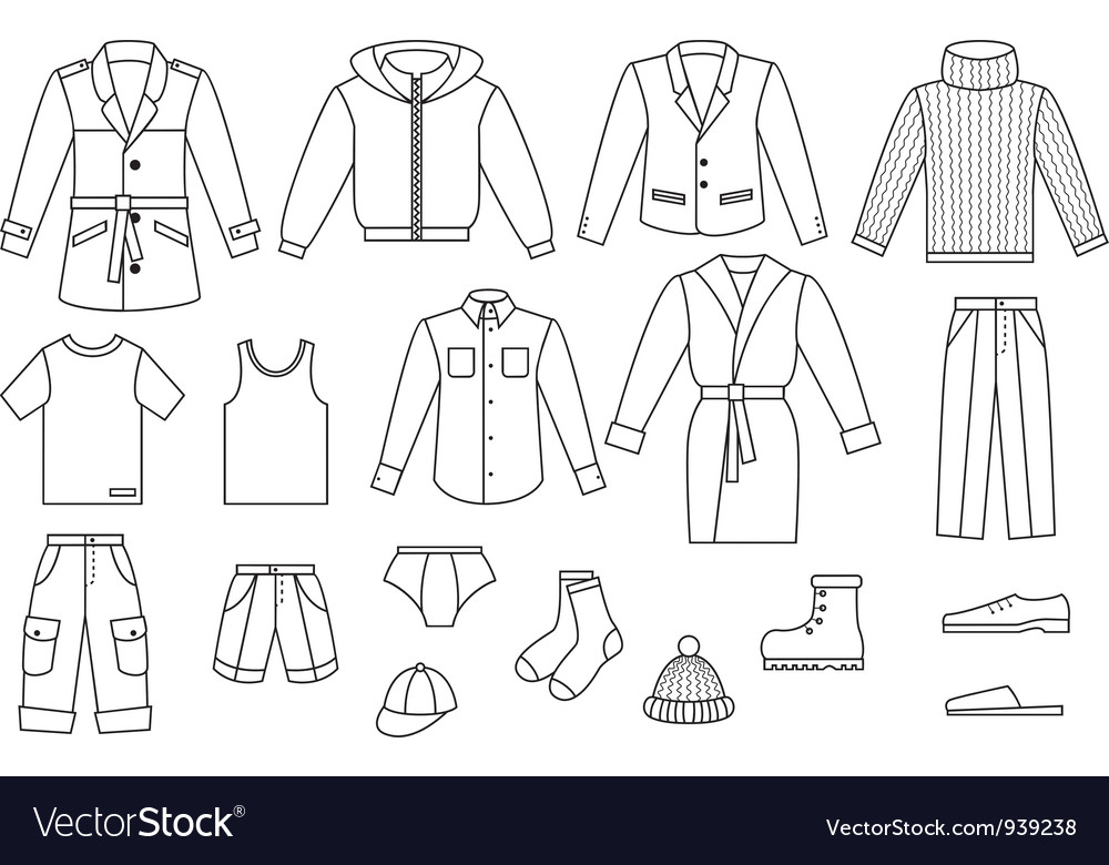 Outline mens clothing collection vector | Price: 1 Credit (USD $1)