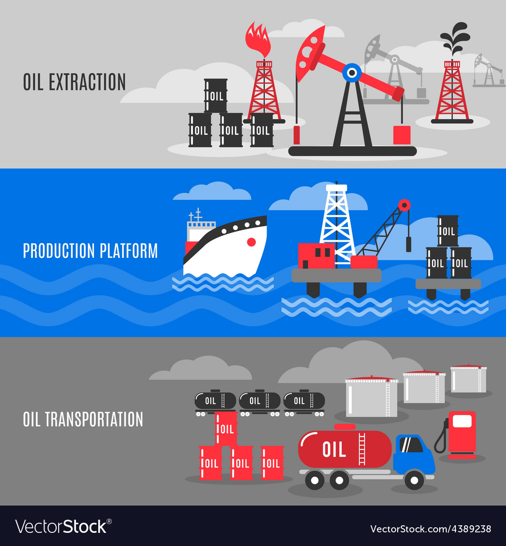 Petroleum banner set vector | Price: 1 Credit (USD $1)