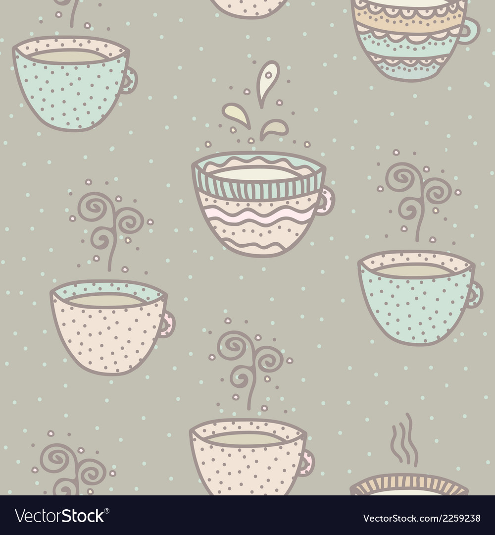 Seamless background with coffee and tea cups vector | Price: 1 Credit (USD $1)