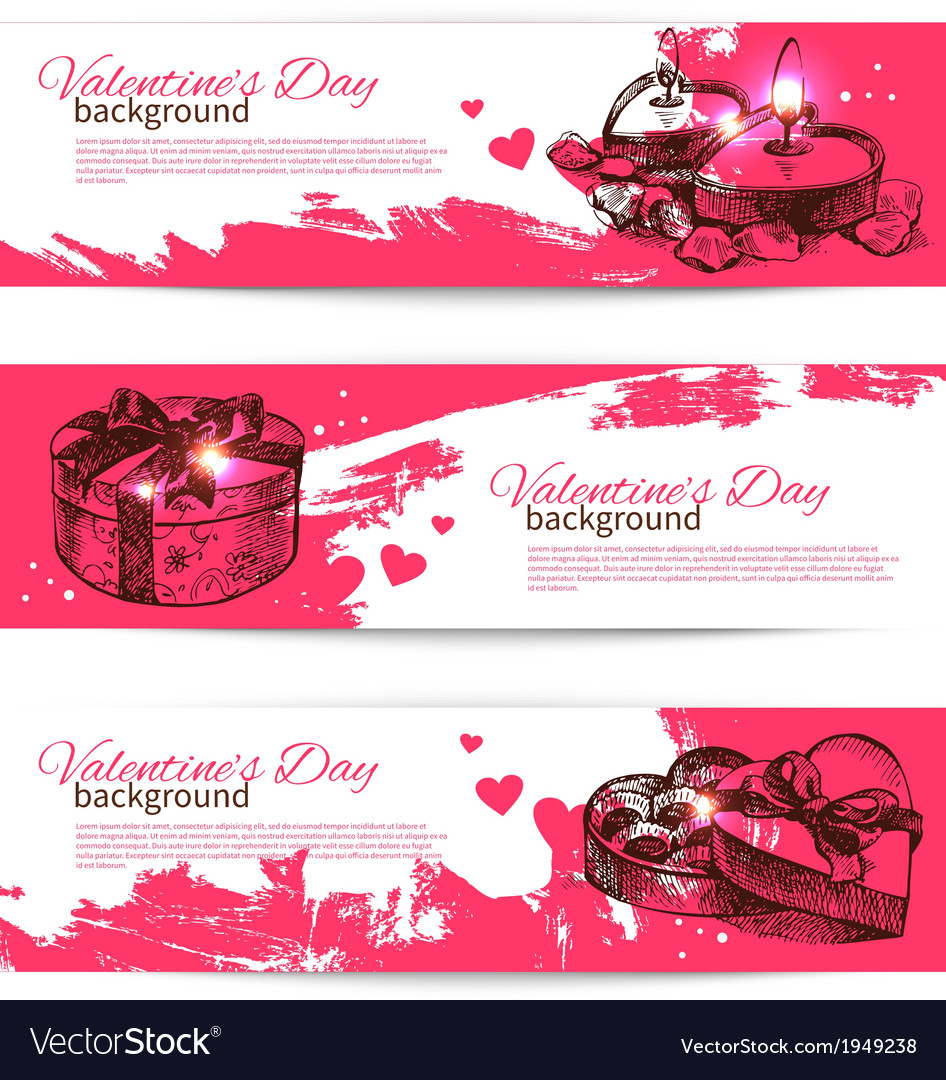 Set of valentines day banners vector | Price: 1 Credit (USD $1)