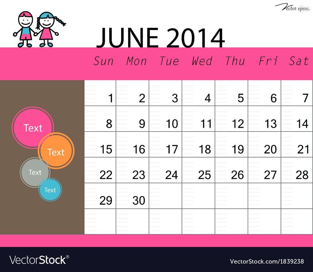Simple 2014 calendar june vector | Price: 1 Credit (USD $1)