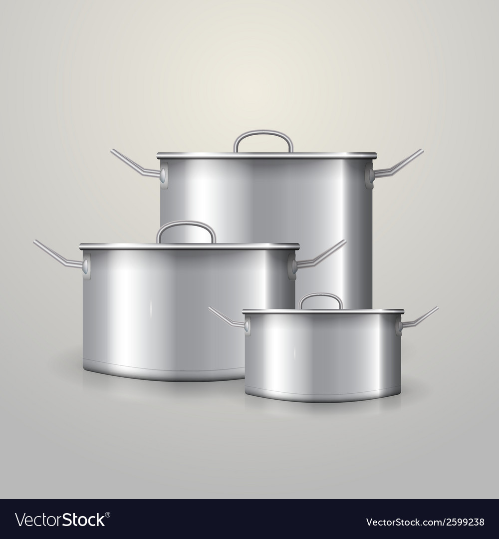 Three aluminum saucepans vector | Price: 1 Credit (USD $1)
