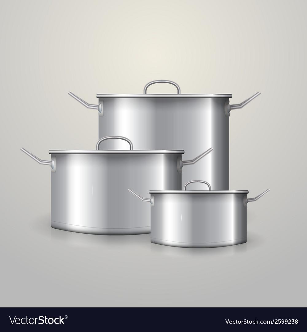 Three aluminum saucepans vector | Price: 1 Credit (USD $1)