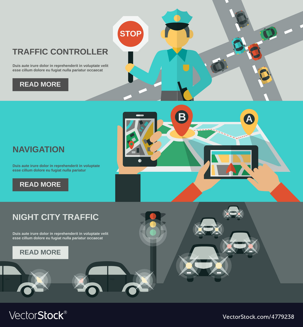 Traffic banner set vector | Price: 3 Credit (USD $3)