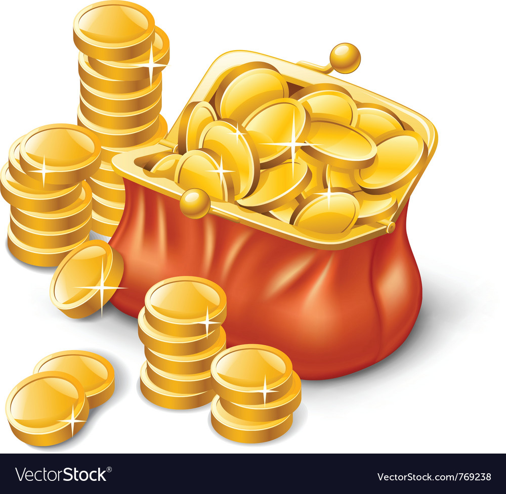Wallet full of coins vector | Price: 3 Credit (USD $3)