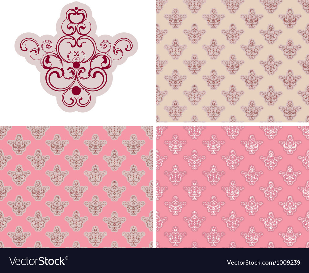 Abstract seamless pink retro background set vector | Price: 1 Credit (USD $1)