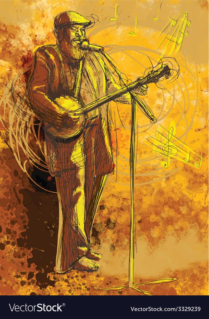 Banjo player vector | Price: 3 Credit (USD $3)