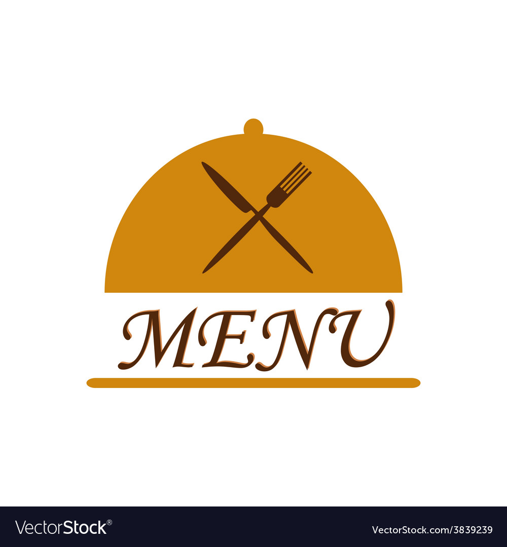 Cloche with crossed flatware and menu text vector | Price: 1 Credit (USD $1)