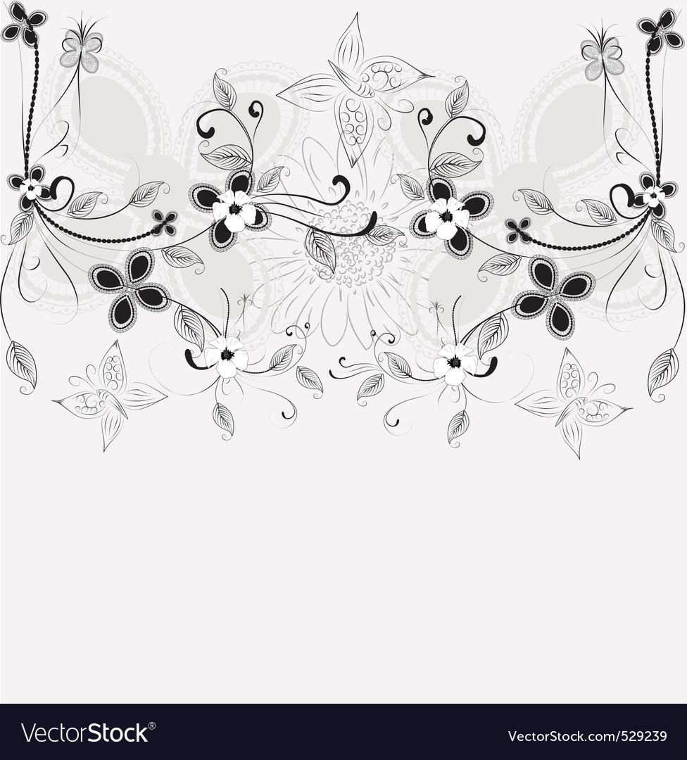Floral ink vector | Price: 1 Credit (USD $1)
