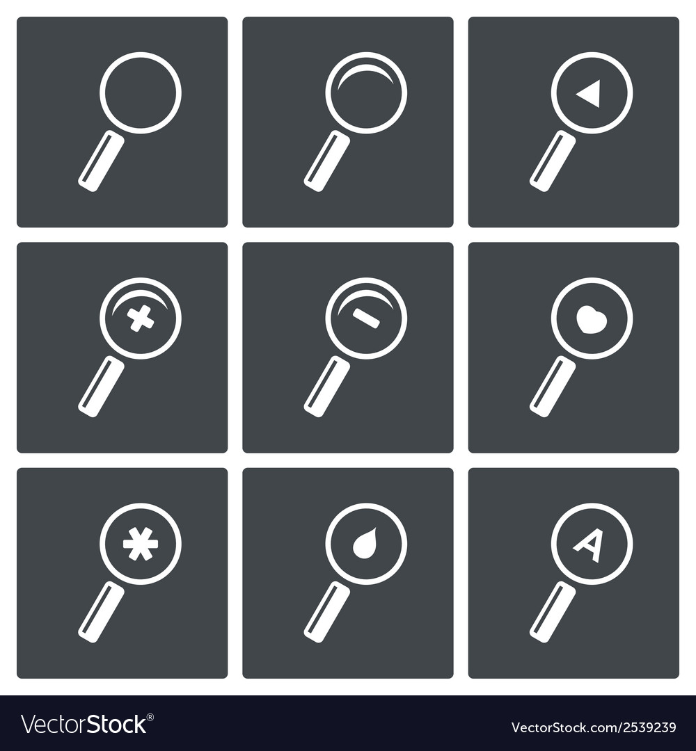 Magnifier icon set vector | Price: 1 Credit (USD $1)