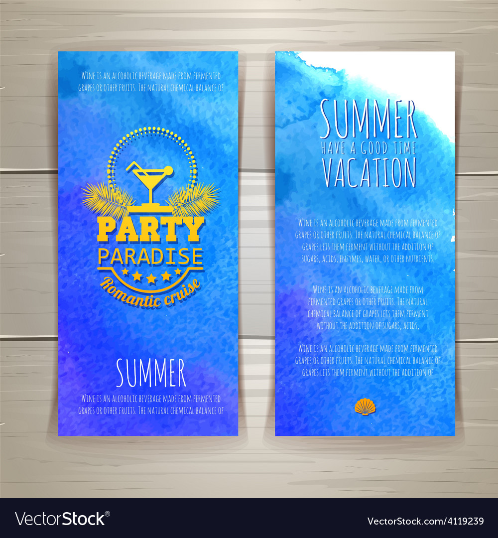 Set of watercolor summer banners with cocktail vector | Price: 1 Credit (USD $1)