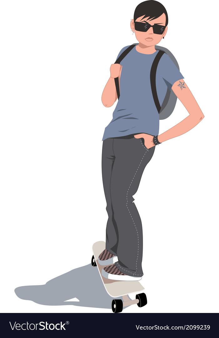 Skater kid vector | Price: 1 Credit (USD $1)