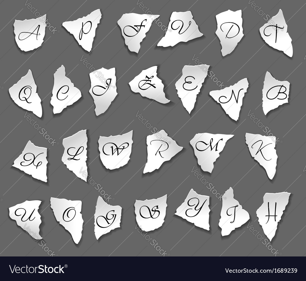 Vintage letters on bits of paper vector | Price: 1 Credit (USD $1)