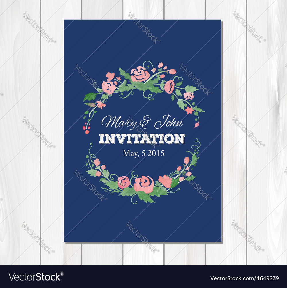 Wedding invitation with watercolor flowers vector | Price: 1 Credit (USD $1)